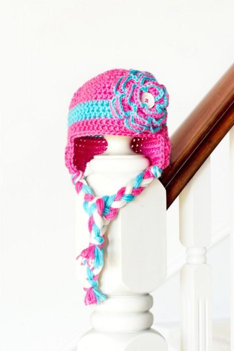 Floral Baby Earflap Crochet Hat Olivia Hopeful Honey