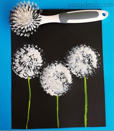 dish-brush-dandelions-craft-for-kids-