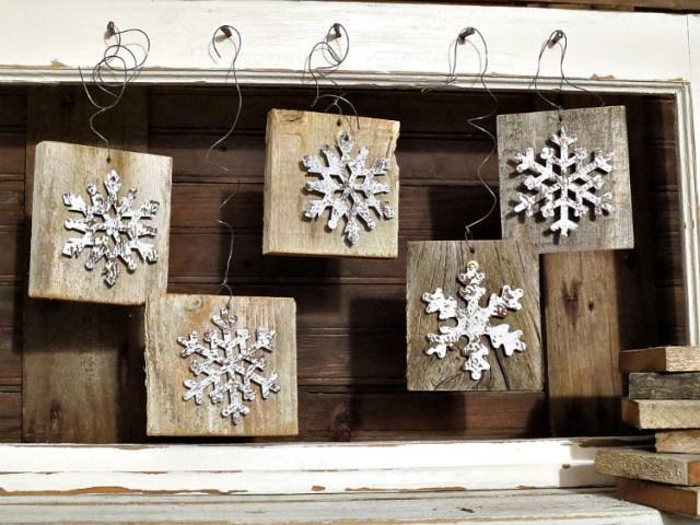 DIY Wood Snowflake Ornaments