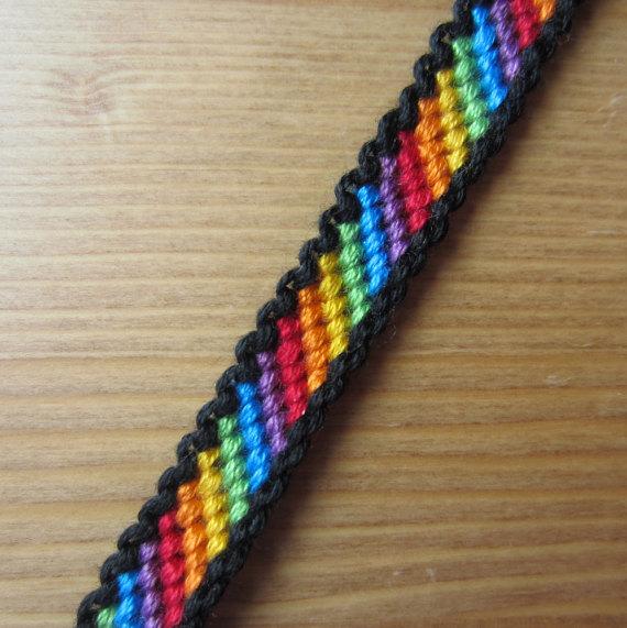 Bordered Rainbow Friendship Bracelet