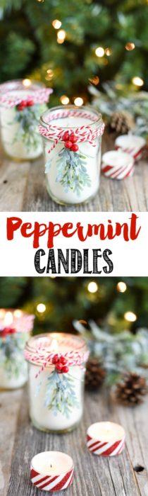 DIY Peppermint Mason Jar Candles