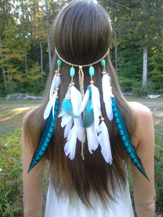 Turqouise Princess Feather Headband