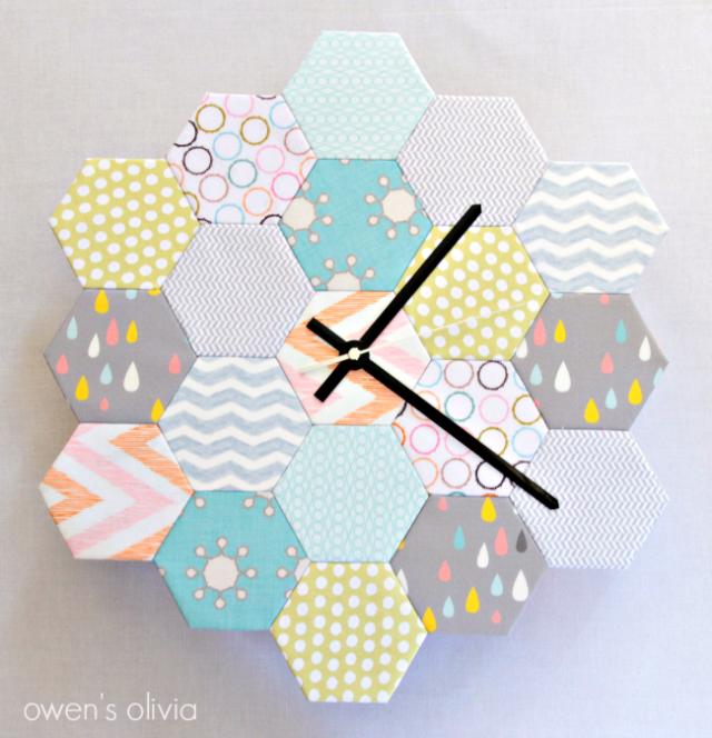 fat-quarter-hexagon-diy-clock