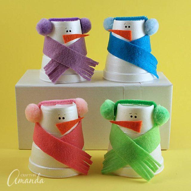 foam-cup-snowmen